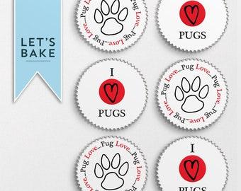 I love Pugs,cupcake topper,cake topper,edible,pug,cake decoration,rice paper,pug cupcake toppers,pug cake topper,cake,cupcake,