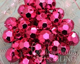 10pc. 20mm Hot Pink Faceted Bling Acrylic Beads