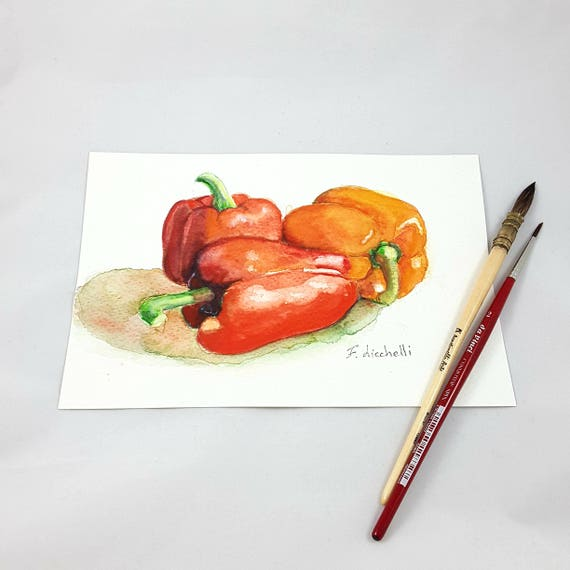 Red peppers, watercolor, still life, original painting, wall decoration, kitchen art, restaurant decore, gift idea for mother or grandma.