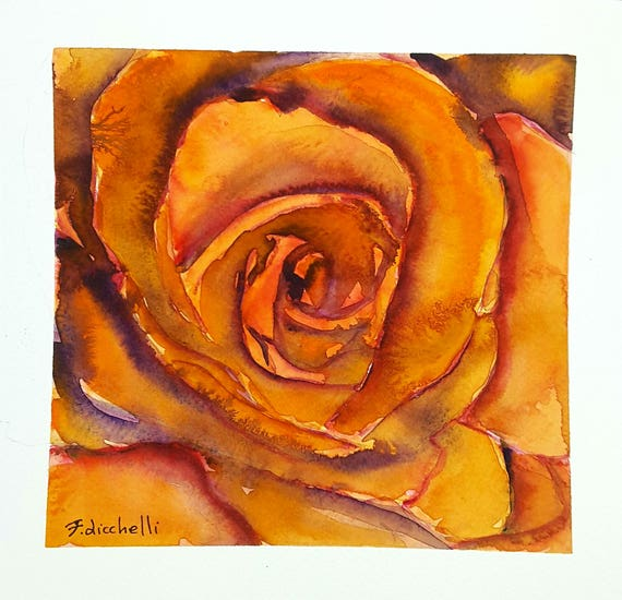 Orange rose, original watercolor, ooak, one of a kind, gift idea for birthday, wall art, living room picture, bedroom art, floral painting.