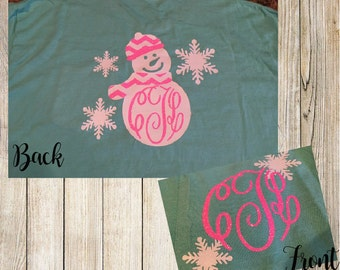 Christmas snowman monogram shirt. Monogram with snowflakes on front with snowman on back. Great christmas gift!