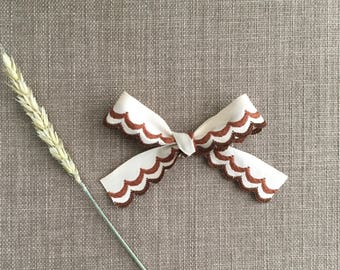 Cream and brown scalloped ribbon bow / earth tones / neutral / baby girl