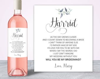 Will you be my bridesmaid gift, Asking Bridesmaid, Bridesmaid Proposal, My turn to pop the question, Bridesmaid Gift Thank you Wine Label