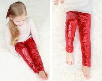 Girl's red sequin pants