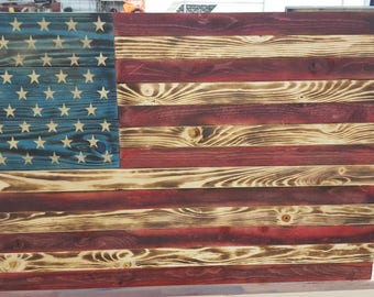 Recalimed Pallet Wood, Rustic, Hand Made, American Flag, Wall Hanging