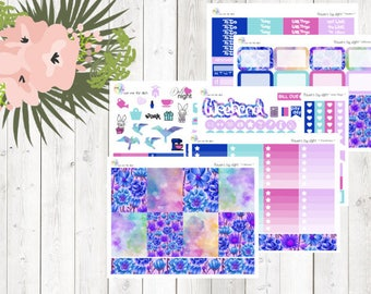 weekly kit - flowers by night (Erin Condren and Happy Planner Stickers)