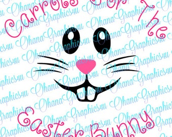 Carrots For The Easter Bunny wording w/ Bunny Face SVG