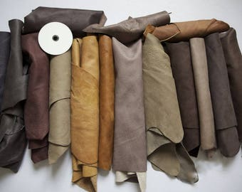1kg Leather Italian Beautiful big Scrap/Off-cuts/Reminants/Pieces