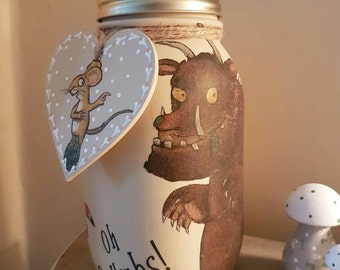 Gruffalo  - Chalk Painted Mason Jar