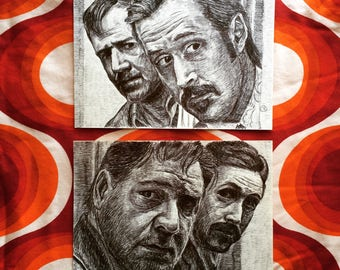 Nice Guys Original Drawing Set (2) Ryan Gosling Russell Crowe