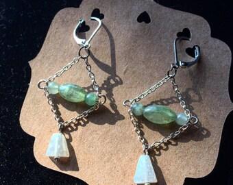 Green Kyanite & Aquamarine Earrings