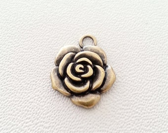 Free shipping!!! 10 pcs.ROSE antique bronze charms pendants 15x15 mm.,accessories,bracelet,necklace,earring,jewelry,keychain,jewelry finding