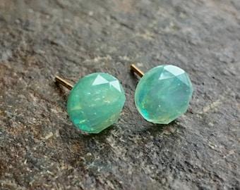 Mint Fire Opal Earring Studs//Small 8 mm Earrings//Mint Earrings//Simple Earrings//Earring Studs//Fire Opal Earrings