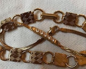 Goldtone Vintage Bracelets 1980s Diamanté and Link Bracelet.