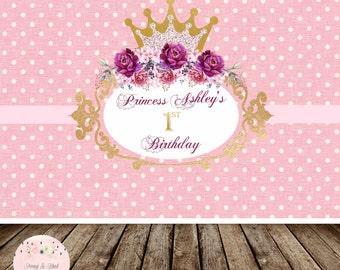 Digital Princess Birthday Backdrop, Disney Princess Backdrop, Pink Birthday,First Birthday Backdrop, Sweet Table Backdrop, Photobooth