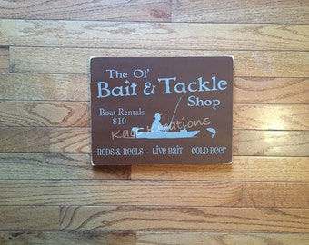 Man cave sign/ wood sign/ Father's Day sign/ FISHING/ bait & tackle