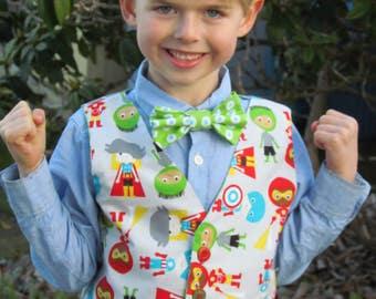 SALE 25% OFF - Boys Superhero Outfit - Superhero Birthday - Superhero Party - Size 5 - Superhero Theme - Superhero Vest - Waistcoat
