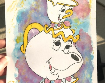 Mrs Potts and Chip from Disney's Beauty and the Beast Watercolour Painting Print in A5 & A4.