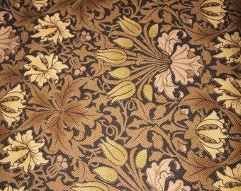 Fabric William Morris by Moda Tulip 8241 Tea Barbara Brackman Browns Fat 1/4 or YARDAGE- Designer 100 pct quality Cotton