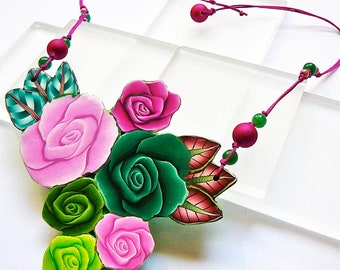 Short block polymer, bouquet of roses necklace