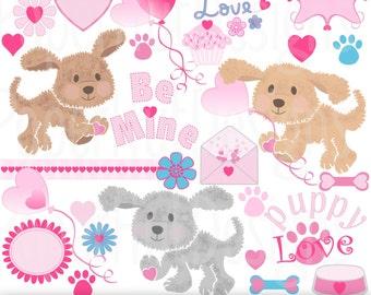Valentine Clipart-Valentine Puppy Dog Clip Art-Puppy Love-Heart-Balloon-Cupcake-Heart Frames-Scrapbooking-Card design-BUY2GET1MOREFREE