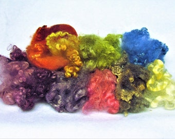 Curly Sheep Locks/ 10 Color Sample Bag/ 1 oz