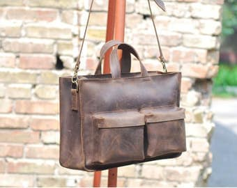 Brown leather daily bag. For laptop 15.4 and documents.