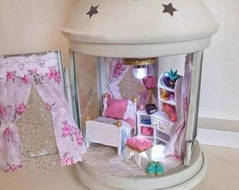 Miniature doll house light house Old lantern Miniature Dollhouse Cute light lantern Room baby house theatre