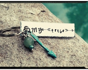 My Tribe Keychain - Hand Stamped//Arrow Symbols//Turquoise Arrow//Green Aventurine Stone -Customize Back with Name/Date/Symbol - Gift