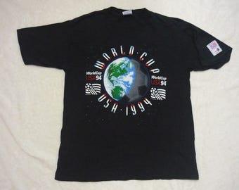 Vintage WORLD CUP USA 1994 Big Logo Spellout Black T Shirt