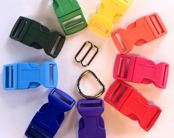 "1"" Width Colored Plastic Buckle Upgrade with silver slide and welded D ring"