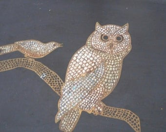 Mid Century vintage Couroc of Monterey black tray with embossed owl and bird farmhouse kitchen shabby chic cottage chic