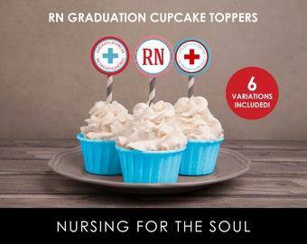 RN Cupcake Toppers - Congratulations RN Cupcake Toppers - Red and Blue - Printable Cupcake Toppers - RN Graduation Party - Nurse Graduation