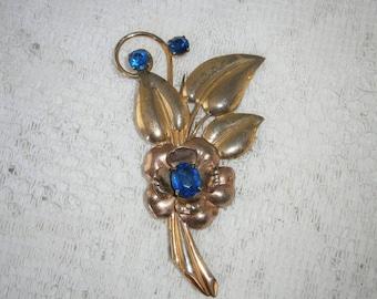 Vintage Sterling & Blue Rhinestone Brooch