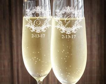 Royal Frame Engraved Wedding Toasting Flutes - PPD2021