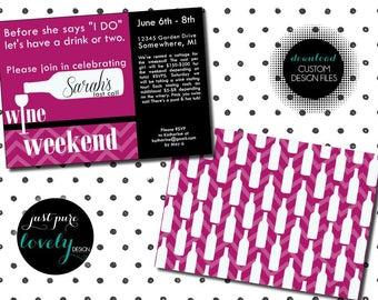 Wine Tasting Weekend Bachelorette Party Invitation | Printable | Wine Bottles | Last Call | Printable