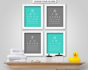 PRINTS or CANVAS or Printable Digital Download - Eye Chart Kids Bathroom Wall Art - Eye Chart Kids Bathroom Wall Decor