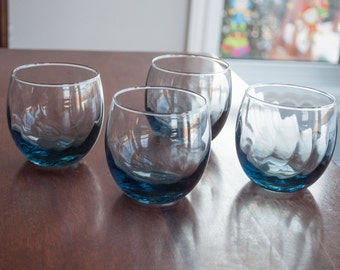 Blue Roly Poly glass - swirl pattern - Set of 4 - Midcentury Vintage Barware