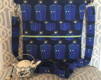 Navy Dr. Who Cross Body Sling Tote