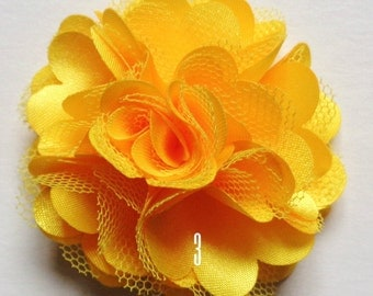 2 inch across shabby fabric flowers set of 2 yellow color