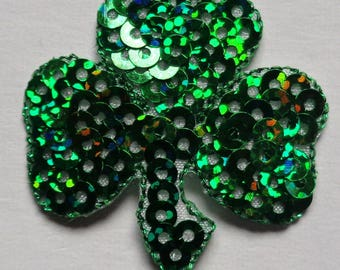 SEQUIN SHAMROCK GREEN iron on patch