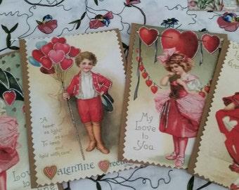Vintage style Valentines Day Cards  +envelopes (set of 4)