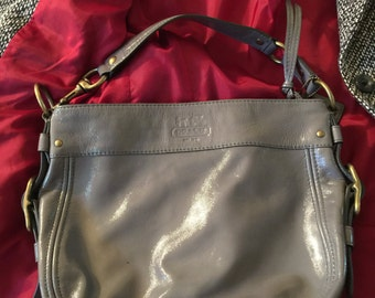 90s Coach Bag, Grey Patent Leather Coach Purse