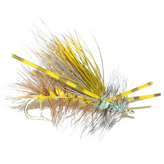 Hand-Tied Fly Fishing Trout Flies: Yellow Crystal Stimulator Dry Fly - Hook Size 14