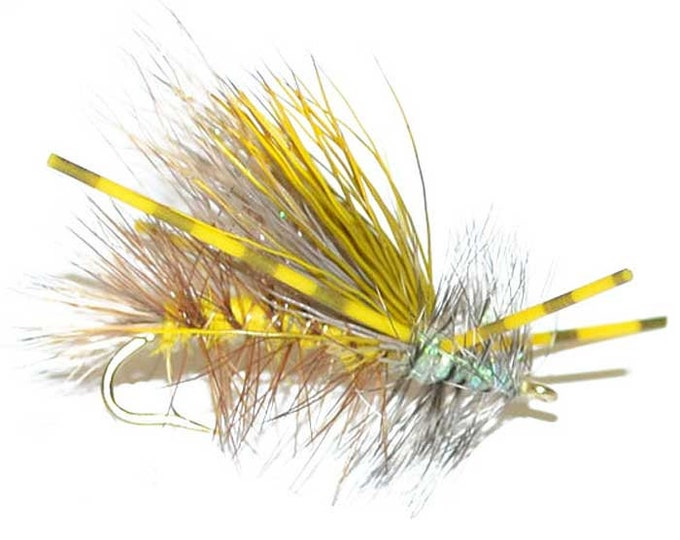 Hand-Tied Fly Fishing Trout Flies: Yellow Crystal Stimulator Dry Fly - Hook Size 12