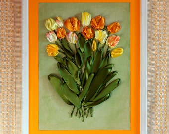 Tulips Hand Embroidery Silk Ribbons Picture