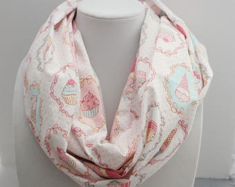 Kawaii scarf - scarf with cute muffins, ice cream and cake printed, perfect gift for teenage girl.
