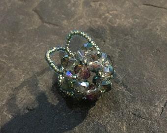 Hand-made beads ring of Toho beads and glass beads.