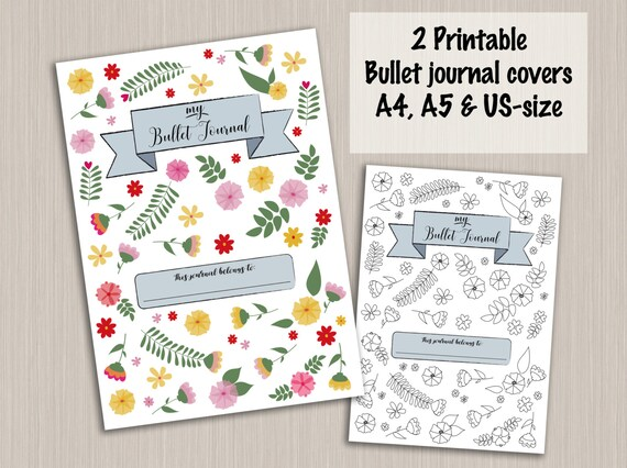 items similar to bullet journal cover template bullet journal pages digital pdf bujo bullet. Black Bedroom Furniture Sets. Home Design Ideas
