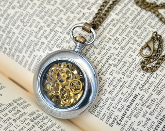 Vintage pocket watch necklace Steampunk Necklace Watch Parts Necklace Vintage Pendant Steampunk gift Gift for her mom women pocket watch